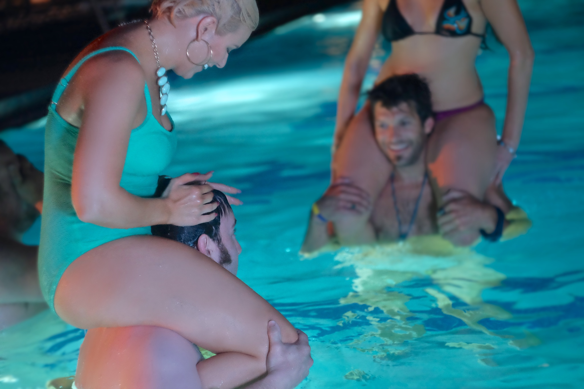Everybody in the pool! Pool scene from Buck Naked featuring Nick Brennan, Molly Anne Wilson, Vanessa Boyer and Lance Salsgiver