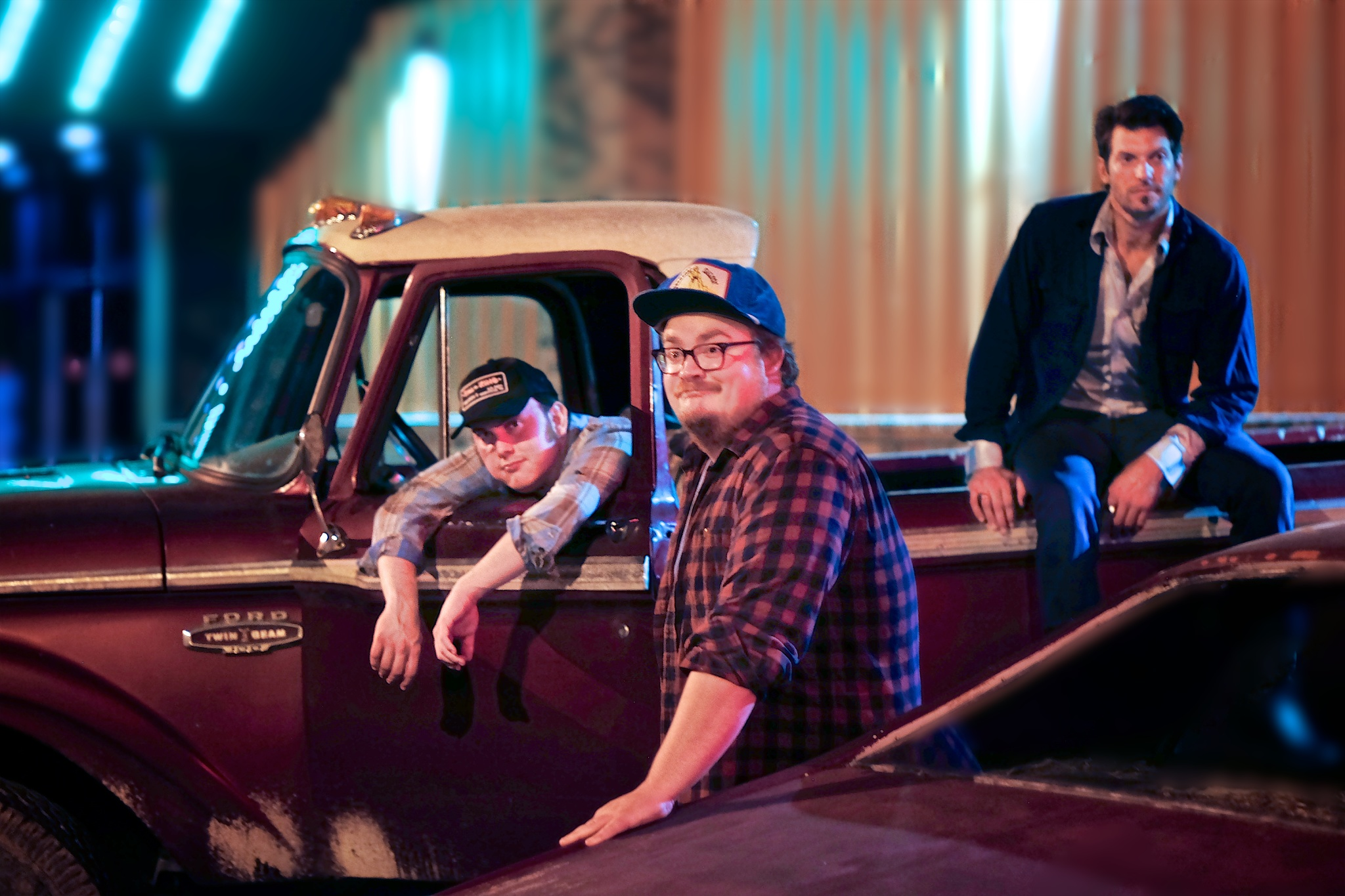 Nick Brennan, Lance Salsgiver & Vance McCarty posing with the 1965 Ford used in the music video Buck Naked (also used in the hit film Percy Jackson & The Lightning Thief)